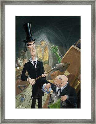 Framed Print featuring the digital art Ashes Fun In The Funeral Crypt by Martin Davey