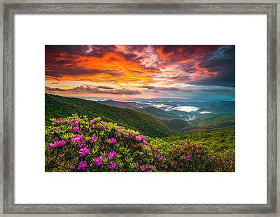 Asheville North Carolina Blue Ridge Parkway Scenic Sunset Framed Print