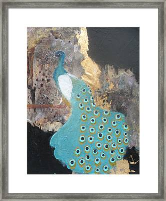 Ashley's Peacock Framed Print by Andrea Friedell