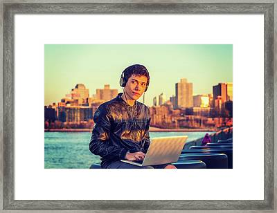 Asian American College Student Traveling, Studying In New York Framed Print