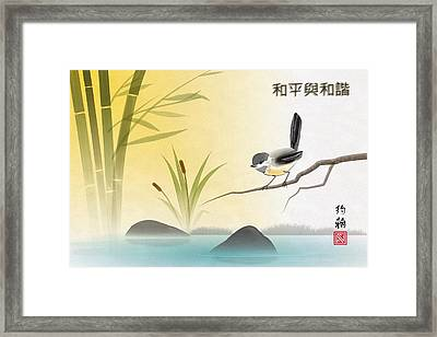 Asian Art Chickadee Landscape Framed Print by John Wills