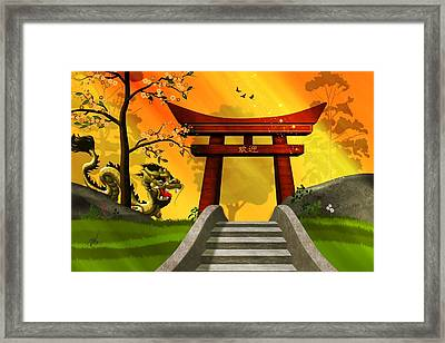 Asian Art Chinese Landscape  Framed Print by John Wills