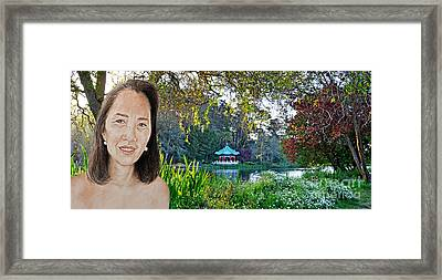 Asian Beauty Pusara By The Pagoda In Golden Gate Park Framed Print by Jim Fitzpatrick