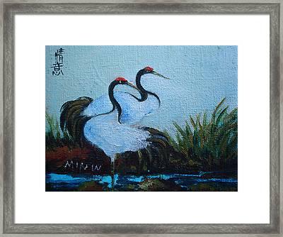 Asian Cranes 2 Framed Print by Min Wang