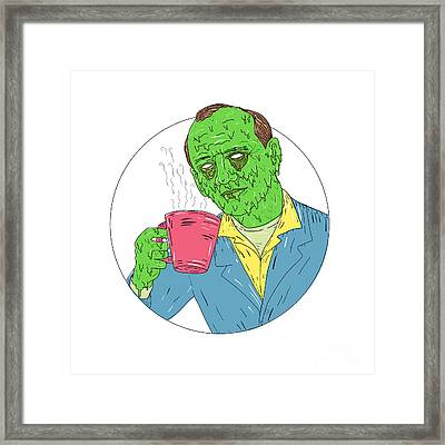 Asian Dude Drinking Coffee Grime Art Framed Print
