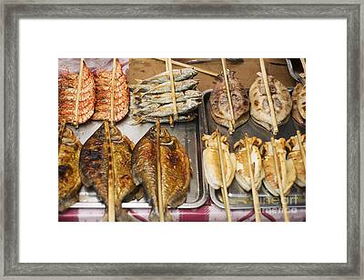 Asian Grilled Barbecued Seafood In Kep Market Cambodia Framed Print