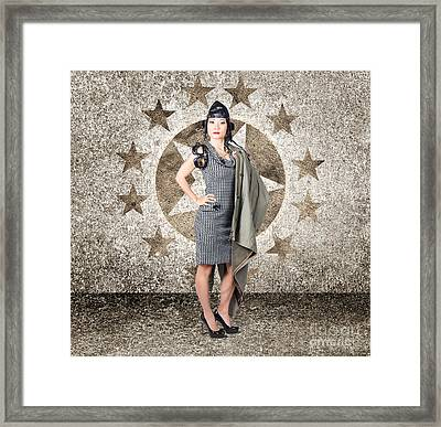 Asian Military Pinup Girl In Retro Air Force Style Framed Print by Jorgo Photography - Wall Art Gallery