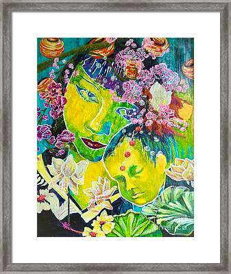 Asian Mother And Child Framed Print