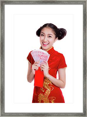Asian Woman With Red Pocket For Chinese New Year Framed Print by Anek Suwannaphoom