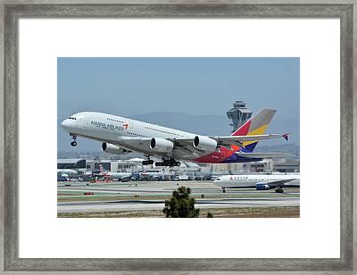 Asiana Airbus A380-800 Hl7626 Los Angeles International Airport May 3 2016 Framed Print by Brian Lockett