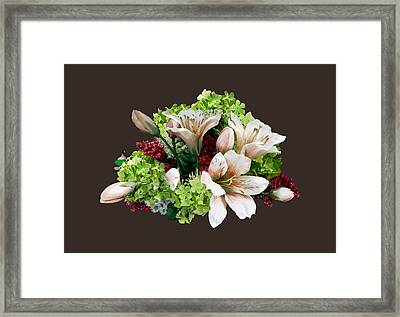 Asiatic Lilies, Hydrangea And Berries Framed Print by Susan Savad