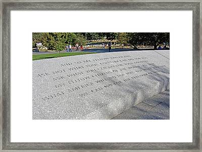 Ask Not What Your Country Can Do For You Framed Print by Cora Wandel