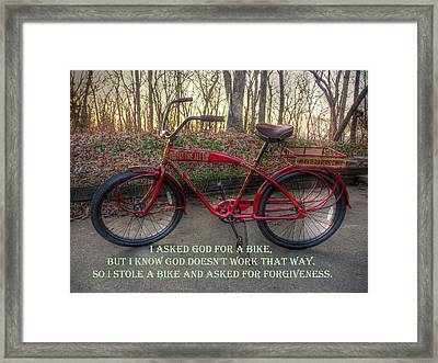 Asked For A Bike Framed Print by William Fields