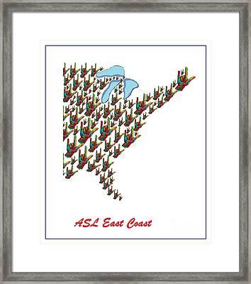 Asl East Coast Map Framed Print