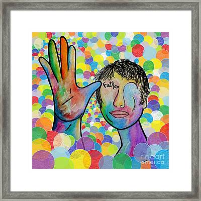 Asl Father On A Bright Bubble Background Framed Print