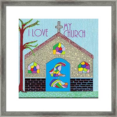 Asl I Love My Church Framed Print