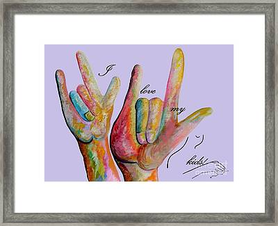 Asl I Love My Kids Framed Print
