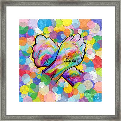 Asl Love On A Bright Bubble Background Framed Print by Eloise Schneider