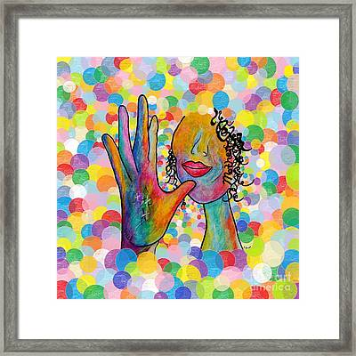 Asl Mother On A Bright Bubble Background Framed Print