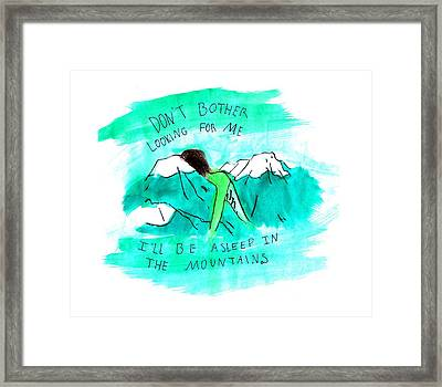 Asleep In The Mountains Framed Print