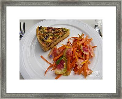 Asparagus And Mushroom Quiche With A Carrot And Radish Salad Framed Print by Louise Heusinkveld