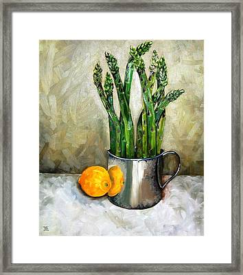 Asparagus In A Sterling Cup Framed Print by Amy Higgins