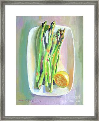 Asparagus Plate Framed Print by David Lloyd Glover
