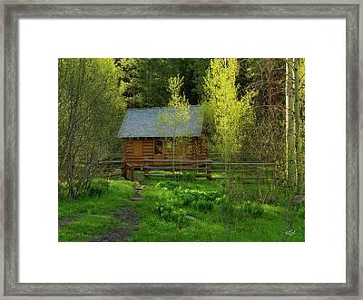 Aspen Cabin Framed Print by Leland D Howard