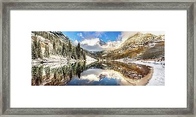 Framed Print featuring the photograph Aspen Colorado Maroon Bells Panorama by Gregory Ballos