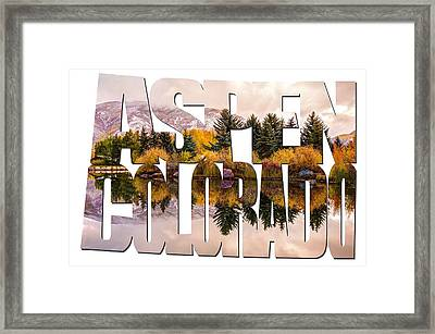 Aspen Colorado Typography - Reflective Morning Framed Print by Gregory Ballos