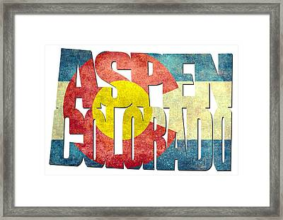 Aspen Colorado Typography - State Flag Framed Print by Gregory Ballos