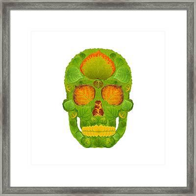 Aspen Leaf Skull 10 Framed Print by Agustin Goba