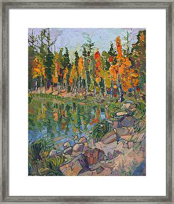 Framed Print featuring the painting Aspen Row by Erin Hanson