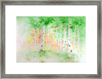Framed Print featuring the painting Aspens by Andrew Gillette