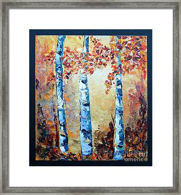 Framed Print featuring the painting Aspens In Glow by Phyllis Howard
