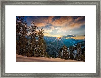 Aspens Sunset After Snowfall Framed Print