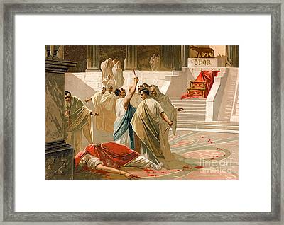 Assassination Of Julius Caesar Framed Print by Spanish School