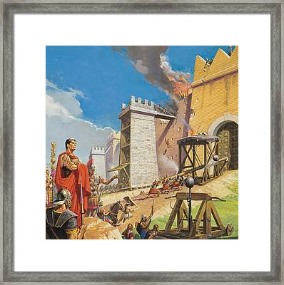 Assault On Carthage Framed Print by Severino Baraldi