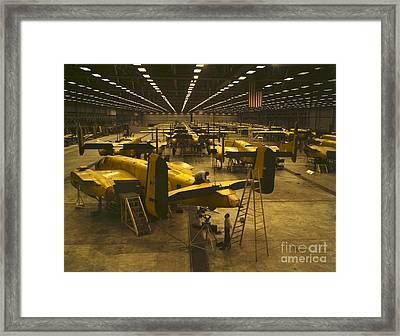Assembling B-25 Bombers Framed Print by Padre Art
