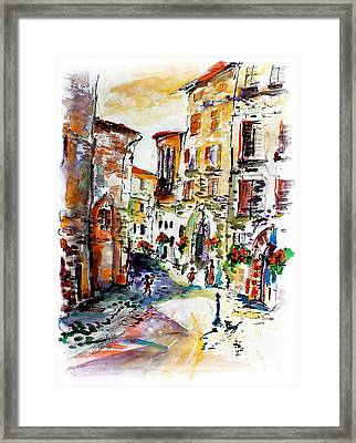 Assisi Italy Old Town Watercolor Framed Print by Ginette Callaway