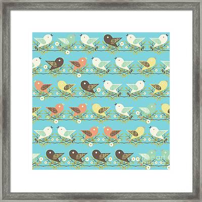 Assorted Birds Pattern Framed Print