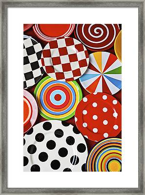 Assorted Colorful Plates Framed Print by Garry Gay