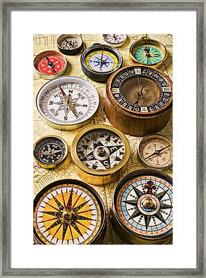 Assorted Compasses Framed Print