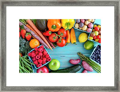 Assorted Fruits And Vegetables Background Framed Print by Teri Virbickis