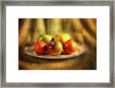 Assorted Fruits In A Plate Framed Print