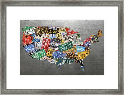 Assorted Vintage Colorful License Plates Of The Usa Map On Steel Framed Print
