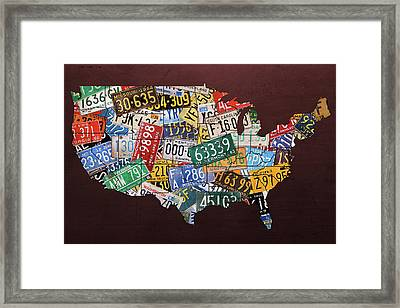 Assorted Vintage License Plates From Around America Map On Reddish Steel Framed Print