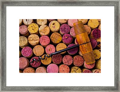 Assorted Wine Corks And Corkscrew Framed Print by Garry Gay