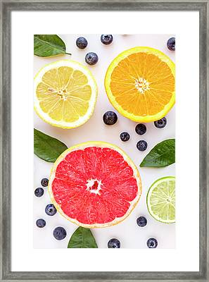 Assortment Of Fresh Citrus Fruits Framed Print by Teri Virbickis
