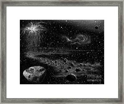 Asteroid Colony Framed Print by Murphy Elliott